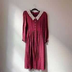 Vintage 80s Tartan Plaid Dress